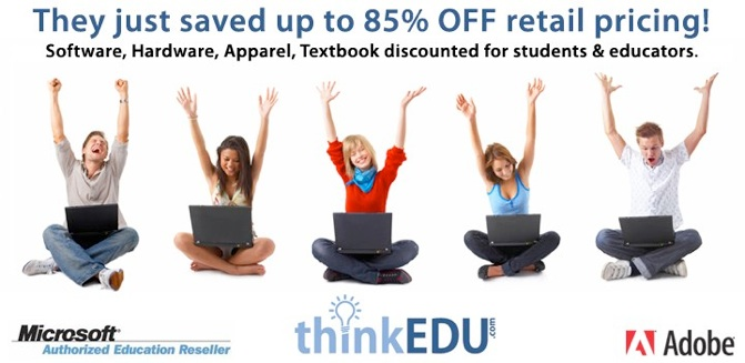 excited students saving big on software